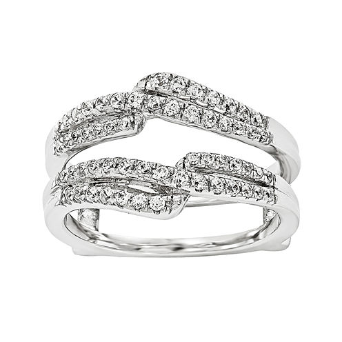 1/3 CT. T.W.  Round Diamond 14K White Gold Ring Guard