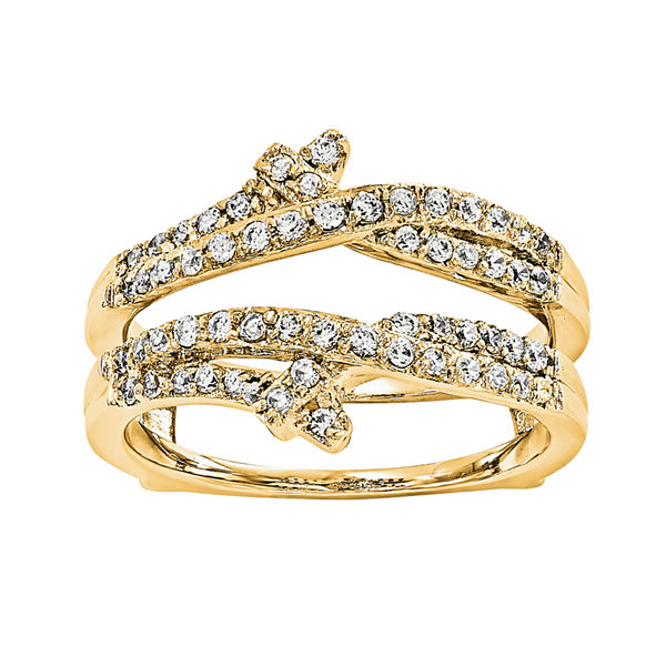1/2 CT. T.W.  Round Diamond 14K Yellow Gold Ring Guard