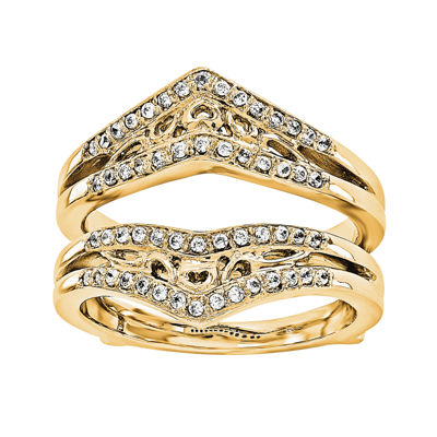 1/3 CT. T.W.  Round Diamond 14K Yellow Gold Ring Guard