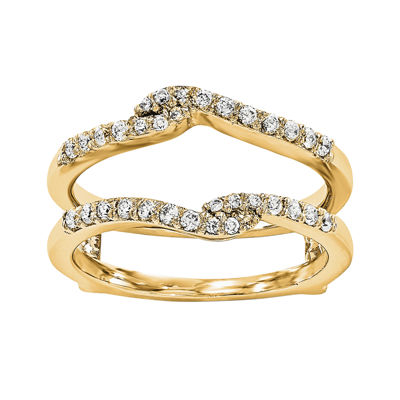 1/4 CT. T.W.  Round Diamond 14K Yellow Gold Ring Guard
