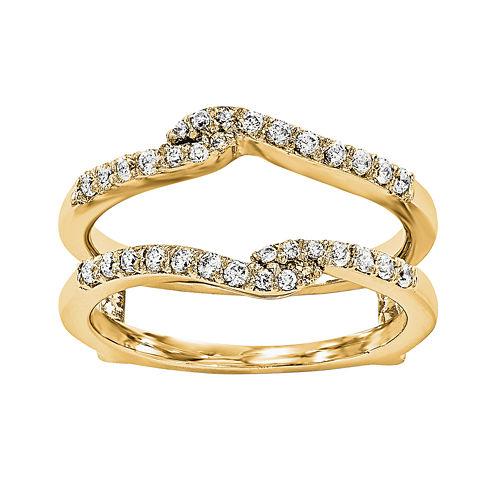 1/4 CT. T.W.  Round Diamond 14K Yellow Gold Ring Guard
