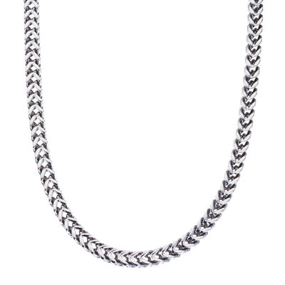 "Mens Stainless Steel 24"" Wheat Chain Necklace"