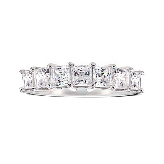 Diamonart Cubic Zirconia Sterling Silver 7 Stone Ring