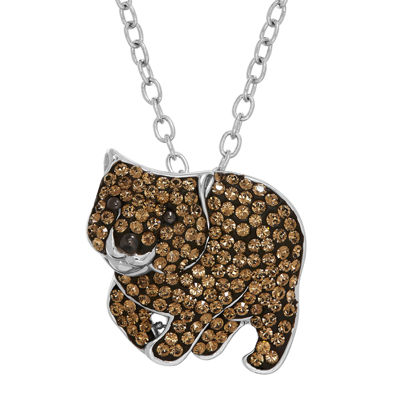 Animal Planet™ Australia Wombat Crystal Sterling Silver Pendant Necklace
