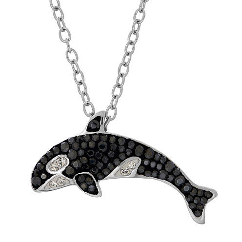 Animal Planet™ Australia Orca Whale Crystal Sterling Silver Pendant Necklace