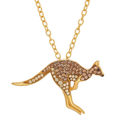 Animal Planet™ Australia Kangaroo Crystal 14K Yellow Gold Over Sterling Silver Pendant Necklace