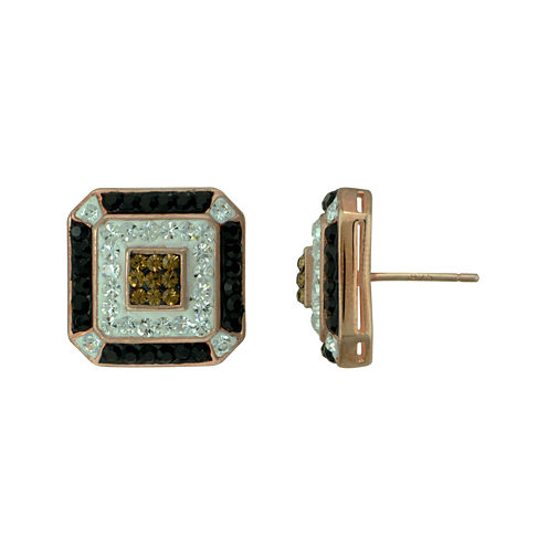 Crystal 14K Rose Gold Over Sterling Silver Square Earrings