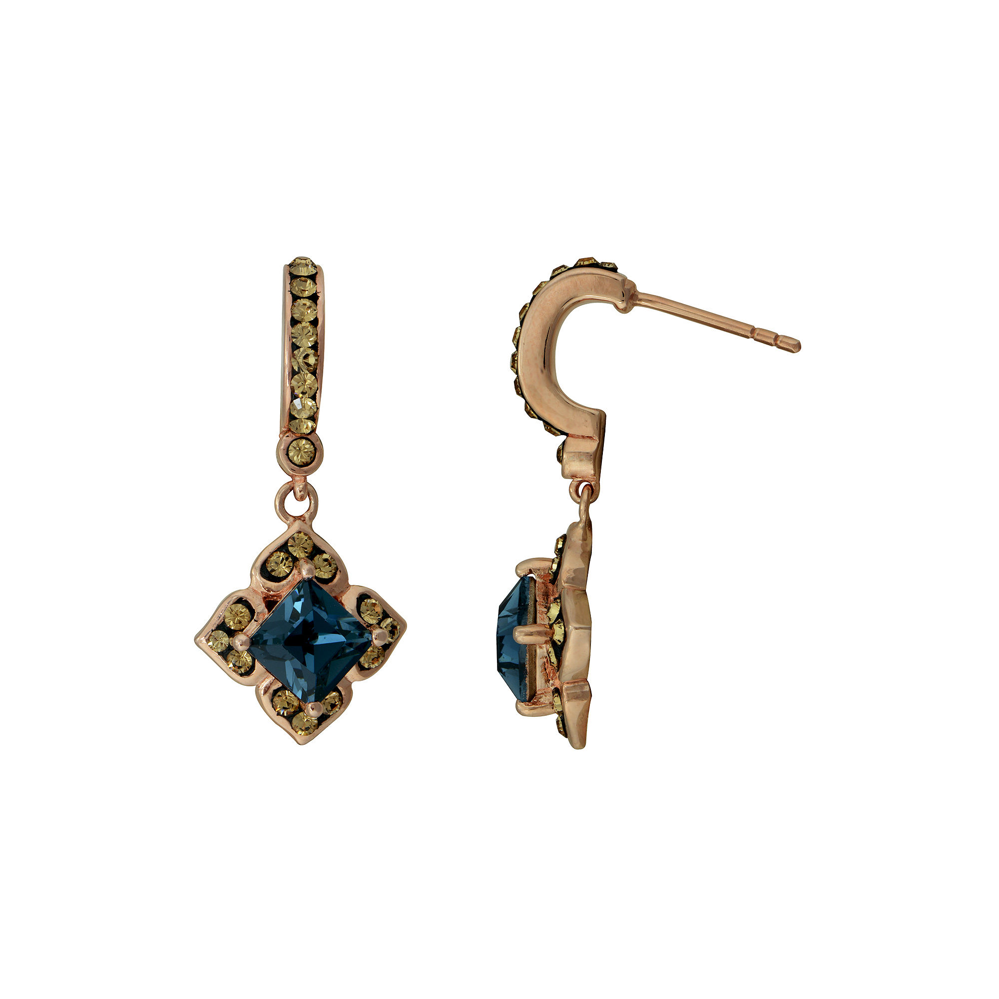 14K Rose Gold Over Silver Crystal Drop Earrings