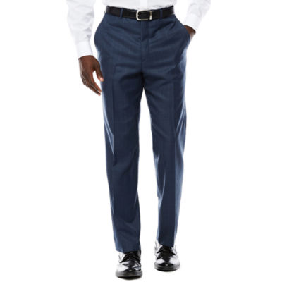 Stafford® Travel Blue Windowpane Flat-Front Suit Pants - Classic Fit