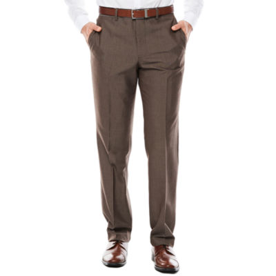 Men's JF J. Ferrar® Taupe End on End Flat-Front Straight-Leg Slim-Fit Pants