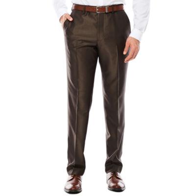 Men's JF J. Ferrar® Brown Shimmer Flat-Front Straight-Leg Slim-Fit Pants
