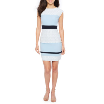 Studio 1 Sleeveless Lace Stripe Sheath Dress