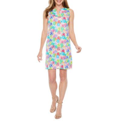 Be by CHETTA B Sleeveless Abstract Pineapple Print Sheath Dress