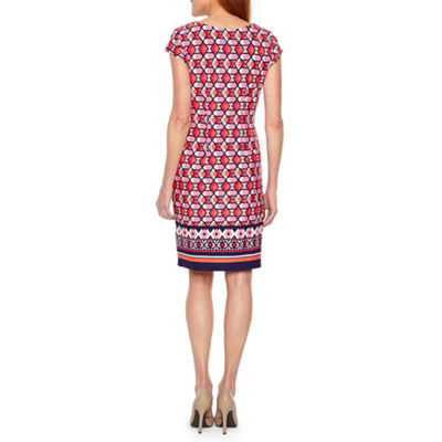 Liz Claiborne Short Sleeve Geometric Shift Dress