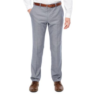 JF J.Ferrar Blue Stretch Sheenskin Slim Fit Suit Pants