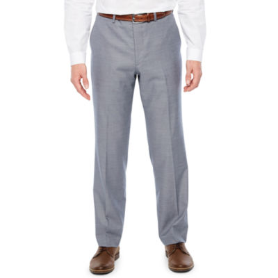 JF J.Ferrar Blue Stretch Sheenskin Suit Pant Stretch Classic Fit Suit Pants