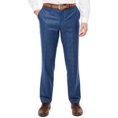 JF J.Ferrar Blue Stretch Windowpane Suit Pant Checked Stretch Slim Fit Suit Pants