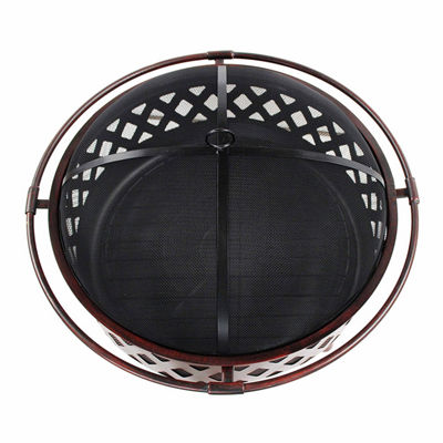 ALEKO Steel Crossweave Fire Pit with Spark Screen and Lid