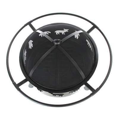 ALEKO Laser Cut Animal Design Fire Pit Kit with Flame Retardant Lid and Poker