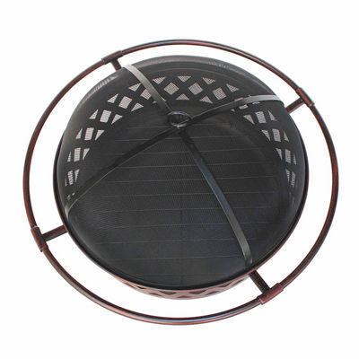 ALEKO Steel Cross Weave Pattern Fire Pit Kit with Flame Retardant Lid and Poker