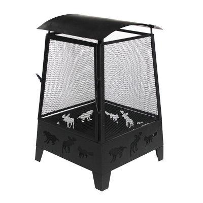 ALEKO Steel Fire pit Outdoor Fireplace with Spark Screen Mesh Lining