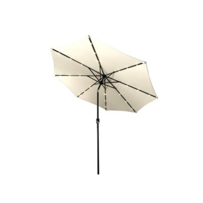 ALEKO Solar Powered LED Lighted Tilting Outdoor Patio Table Umbrella