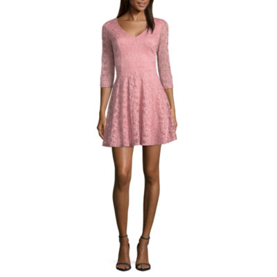 by&by Long Sleeve Fit & Flare Dress-Juniors
