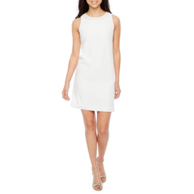 Chelsea Rose Sleeveless Beaded Neck Shift Dress