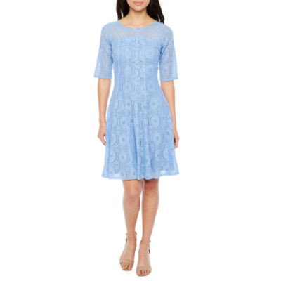 Rabbit Rabbit Rabbit Design Short Sleeve Lace Fit & Flare Dress