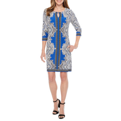 Studio 1 3/4 Sleeve Puff Print Paisley Shift Dress
