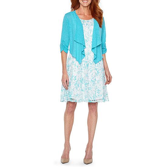 Perceptions 3/4 Ruched Sleeve Jacket Dress