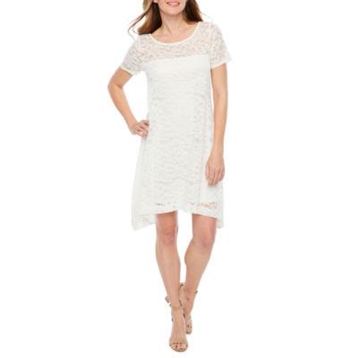 Robbie Bee Short Sleeve Floral A-Line Dress-Petite