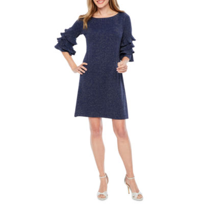J Taylor 3/4 Tiered Sleeve Sheath Dress