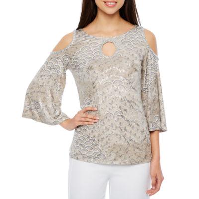 MSK 3/4 Sleeve Round Neck Knit Blouse