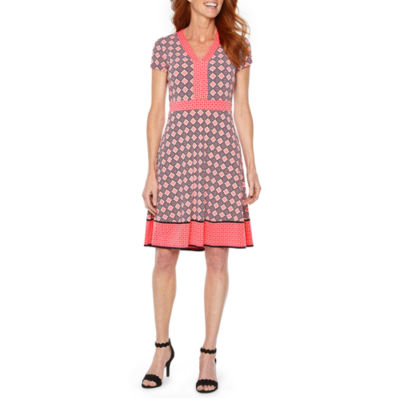 Liz Claiborne Short Sleeve Geometric Fit & Flare Dress