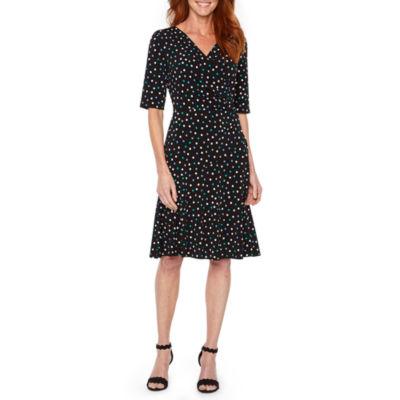 Liz Claiborne 3/4 Sleeve Dot Wrap Dress