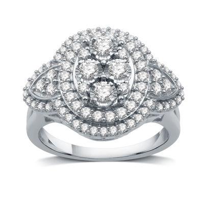 Womens 1 CT. T.W. White Diamond 10K White Gold Cocktail Ring