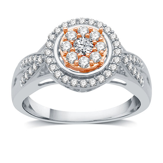 Diamond Blossom Womens 1/2 CT. T.W. Genuine White Diamond 10K Two Tone Gold Cocktail Ring