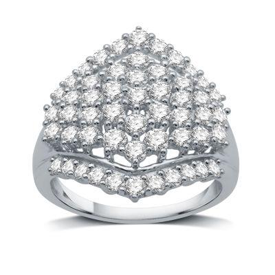 Womens 1 1/2 CT. T.W. Genuine White Diamond 10K White Gold Cluster Ring