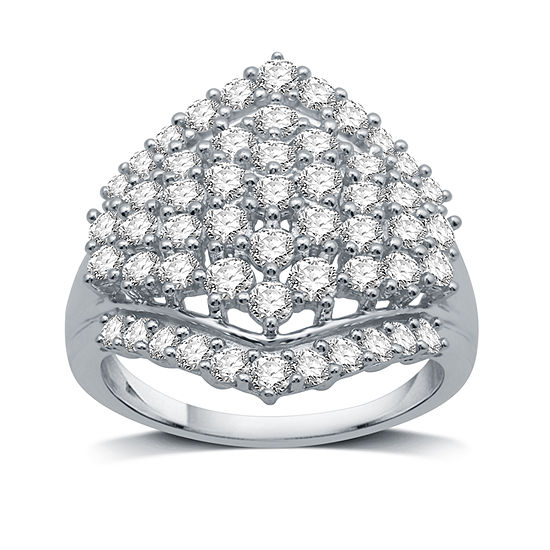 Womens 1 1/2 CT. T.W. Genuine White Diamond 10K White Gold Cluster Cocktail Ring