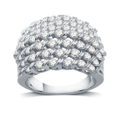 Womens 2 CT. T.W. Genuine White Diamond 10K Gold Cocktail Ring