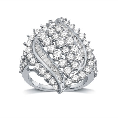 Womens 3 CT. T.W. Genuine White Diamond 10K Gold Cocktail Ring