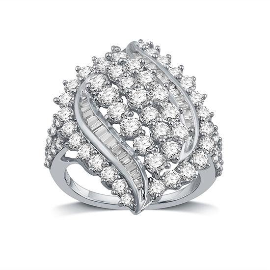 Womens 3 CT. T.W. Genuine White Diamond 10K White Gold Cocktail Ring