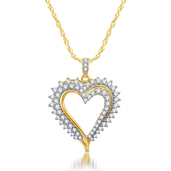 Womens 1 CT. T.W. Genuine White Diamond 10K Gold Heart Pendant Necklace