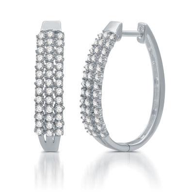 1 CT. T.W. Genuine White Diamond 10K White Gold 23.9mm Hoop Earrings