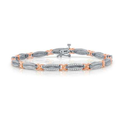 1 CT. T.W. White Diamond 10K Two Tone Gold Tennis Bracelet