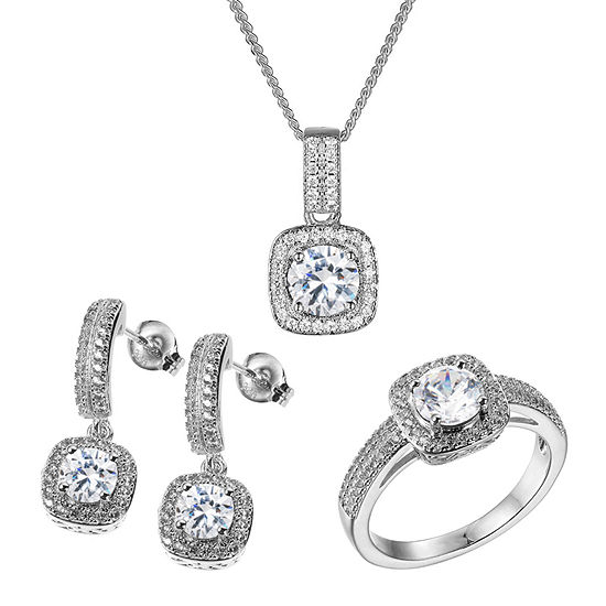 Diamonart 3 3/4 CT. T.W. White Cubic Zirconia Sterling Silver 3-pc. Jewelry Set