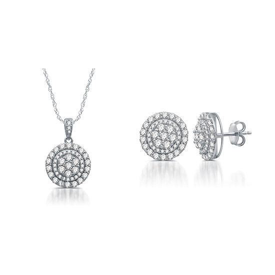 Diamond Blossom 2 CT. T.W. Genuine White Diamond Sterling Silver 2-pc. Jewelry Set