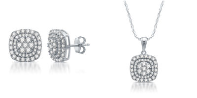 Diamond Blossom Womens 2-pack 2 CT. T.W. White Diamond Sterling Silver Jewelry Set