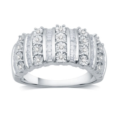 Womens 1/2 CT. T.W. White Diamond Gold Over Silver Band